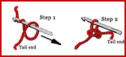 Chain stitch in crocheting:  diagram created in red