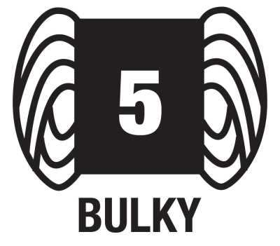 Bulky or Chunky yarns are designated as number 5