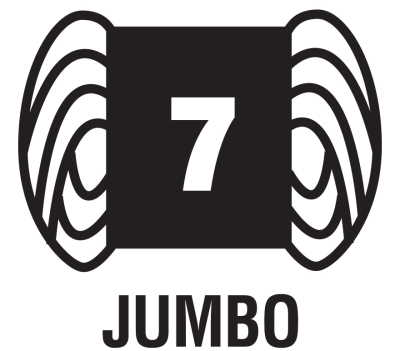 The thickest type of yarn is called Jumbo and is given the number 7