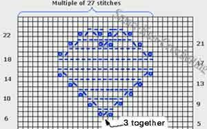 Baby Blanket Knit Pattern - heart shaped design graph