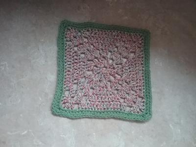 Crossed Shell Granny Square Dishcloth
