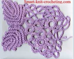 Crochet Net : net is formed at theright part of crochet motifs.