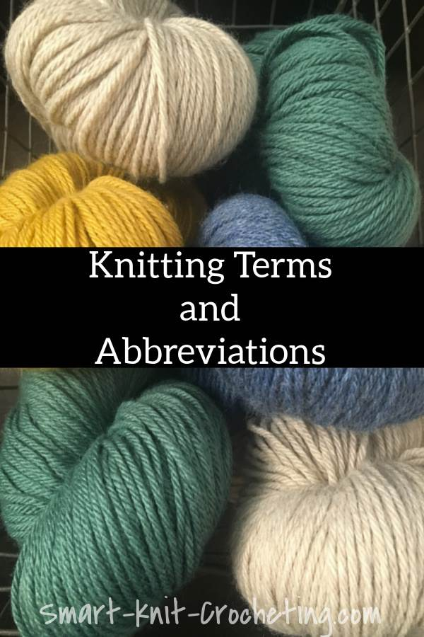 various colored yarns are shown in this knitting terms and abbreviations pin