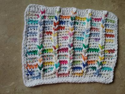 Single crochet variation of the Jacobs ladder stitch a dishcloth