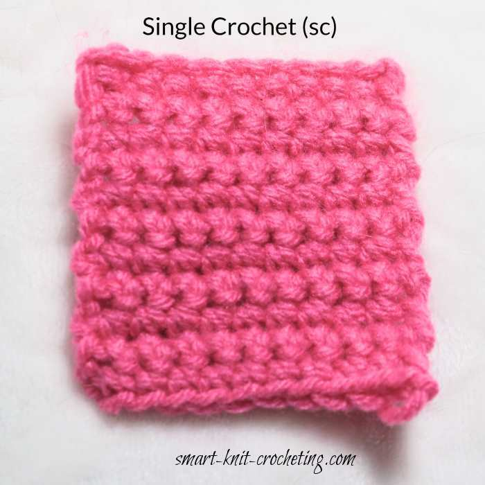 Diagram showing how to make a single crochet stitch